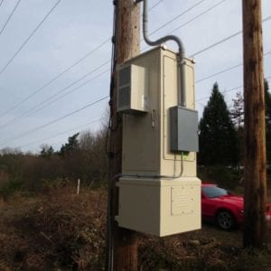 Pole Mount Enclosure  Pole mount modular enclosure with battery backup and air conditioning option for Telecom industry.