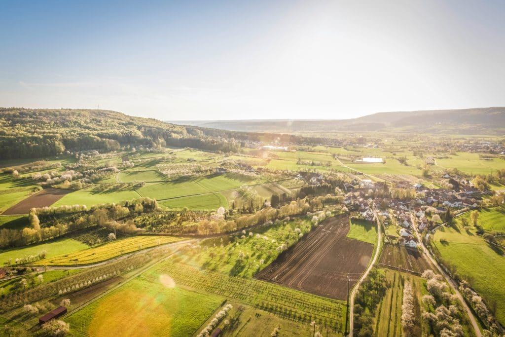 Overhead shot of beautiful rural landscape